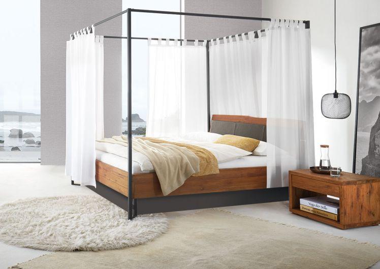 silverline Split-Wasserbett Notwill Himmelbett mit Massivholzrahmen, Kopfteil 55 cm Einstieg