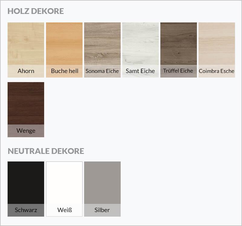 Holz Dekore und Matt Dekore zur Auswahl