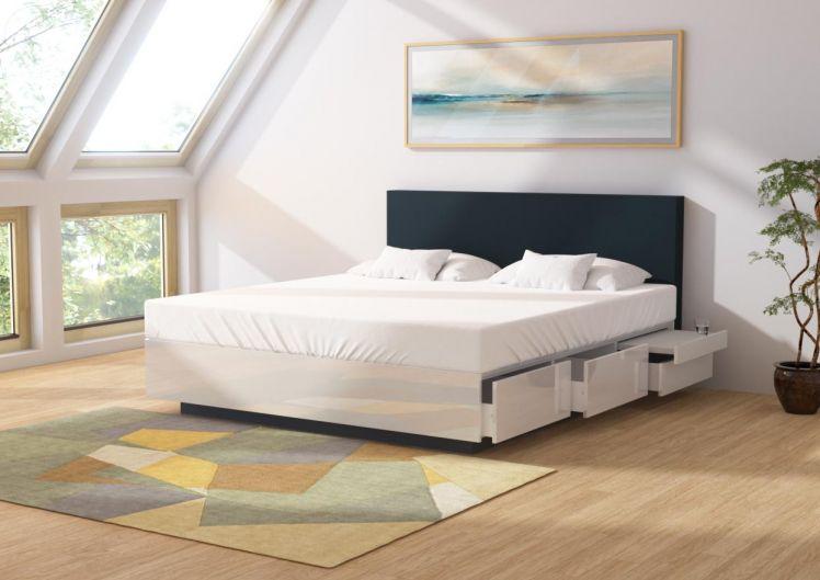 silverline Hochglanz Wasserbett Fashion mit 6 Schubladen, integrierter Nachttisch 55cm Einstieg